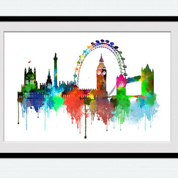 London skyline print, London cityscape poster, watercolor home decoration, office wall art, London skyline illustration gift, nursery, W113