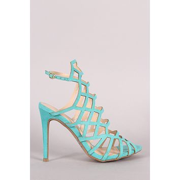 Wild Diva Lounge Caged Peep Toe Stiletto Heel