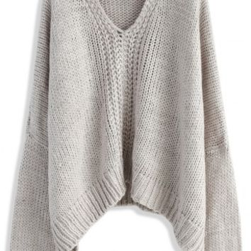 Knit Time to Relax Oversized Sweater in Grey