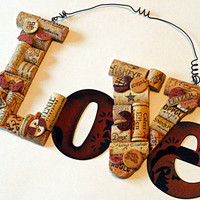 Wine Cork Sculpture Love Valentine Hanging Sign Love Sign Love Wine Cork Sign