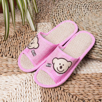 Stylish Design Linen Slippers Home Anti-skid Summer Sandals [6034263233]