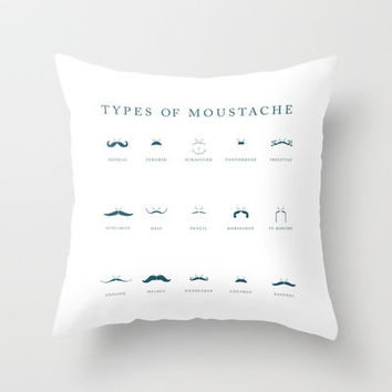 Types of Moustache / Mustache Poster Throw Pillow by ChyStudio | Society6