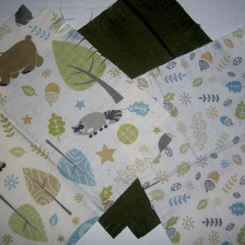 "Baby Flannel rag quilt kit forest animal kids nursery fringed die cut fabric squares batting  ready to sew 39""x39"" quilting shower gift"