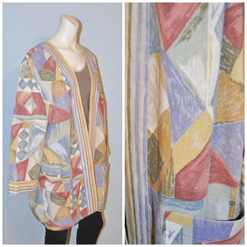 Vintage 1990's Geometric Pattern Jacket Oversized Open Pastel Print Jacket Tracy Richards Lightweight Collarless Blazer Large Petite