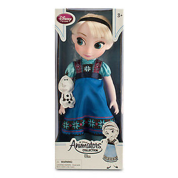 "disney store animator frozen elsa 16"" h doll toy with olaf new edition with box"