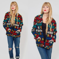 Vintage 80s MEXICAN Jacket COLORFUL Cat TRIBAL Embroidered Boyfriend Blazer Boho Ethnic Jacket