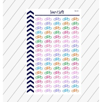Bicycle Planner Stickers, Bike Riding Planner Stickers, Exercise, Workout, Functional Planner Stickers, Perfect For Erin Condren Planner