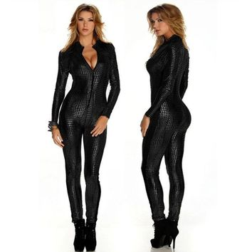 Outfit Faux Leather Snake Print Bodysuits Sexy Night Club Rompers Women Jumpsuits Full Sleeve Full Length Playsuits