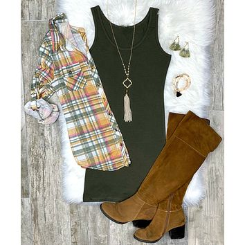 Penny Plaid Flannel Top - Mustard