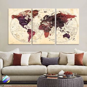 "LARGE 30""x 60"" 3panels 30x20 Ea Art Canvas Print Watercolor Brown Old Map World Push Pin Travel M1818"