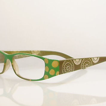 Gold Circle Reading Glasses, Handpainted In Green And Gold. 175 Strength. Eyeglass Case Included