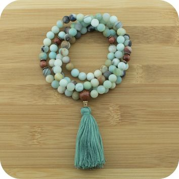 Multi Colored Matte Amazonite Mala with Gold Sandstone