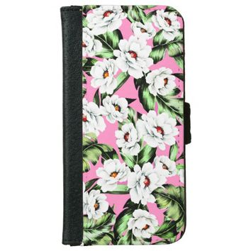Lovely Pink Green Flower Design iPhone 6/6s Wallet Case
