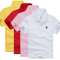High Quality Kids Boys Polo Shirt Baby Boy Girl Clothes Summer Short Sleeve Cotton Solid White Red Yellow Tshirt