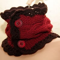 Knit neck warmer / scarf / cowl in chocolate brown and berry red