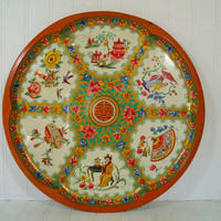 Vintage Daher Decorated Ware Large Tray - Retro Oversize Round Lithograph Asian Scenic Metal Bowl - Shabby Chic BoHo Bistro Serving Display