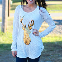 Sequin Reindeer Knit Tunic {Oatmeal}