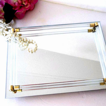 Vintage Mirror Tray perfume tray smaller Vanity mirror tray Glass tube handles Brass caps footed Hollywood Regency Mid Century jewelry tray