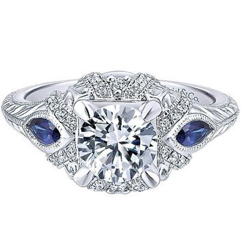 "Gabriel ""Lexington"" Diamond & Blue Sapphire Halo Engagement Ring"