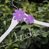 White Bridal hanger with coral flower, flower bridal hanger, flower hanger, hanger with flower, coral flower hanger, bride hanger