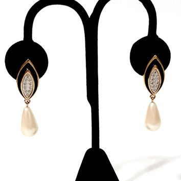 Monet Dangle Earrings Gold Tone Black Enamel Pave Set Clear Rh