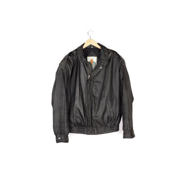 vintage 90s basic black leather bomber jacket / Luis Alvear / motorcycle jacket / minimal / classic / rugged / biker / boxy fit / men large