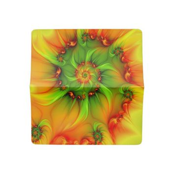 Hot Summer Green Orange Abstract Colorful Fractal Checkbook Cover