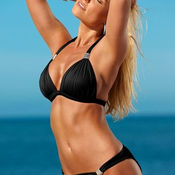 Goddess Low Rise Bikini Bottom in Black Beauty | VENUS