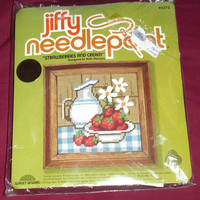 Jiffy Needlepoint 5273 Strawberries and Cream Designed by Beth Rienstra Sunset Designs Stitch Kit