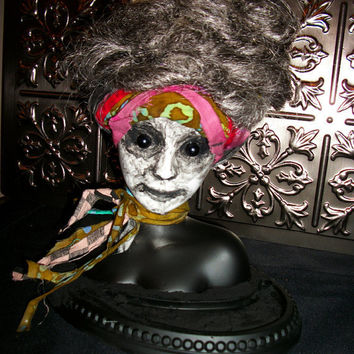 Altered Art OOAK Repurposed Horror Monster Scary Salvage Prop Doll Bust Valet L.Cerrito
