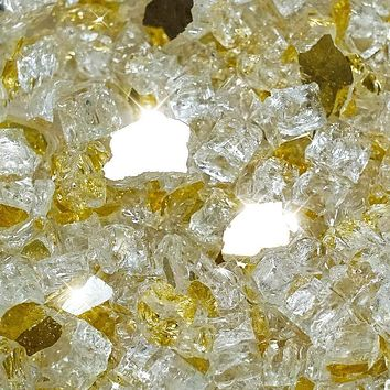 "Vibrant Luster 1/2"" Medium, Royal Gold by the Pound - Tempered Reflective Fire Glass Rock for Fireplace and Fire Pit"