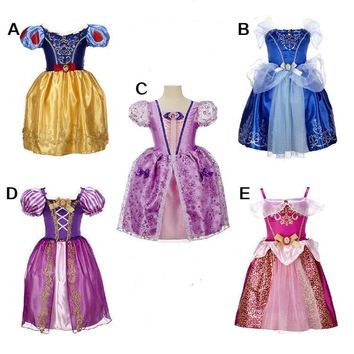 Cool 2017 Baby girls dress Girls Rapunzel Costume For Kids Clothes Girls Cinderella Dresses Snow Queen Elsa Dress Children clothingAT_93_12