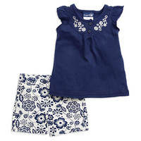 Rugged Bear Baby Girls Two-Piece Shorts Set