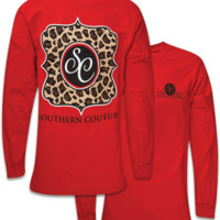 SALE  Southern Couture Preppy Classic Leopard Logo Long Sleeve T-Shirt