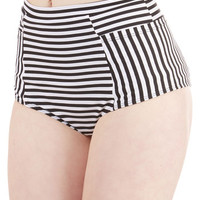 Vintage Inspired High Waist Sunbathing in Stripes Swimsuit Bottom