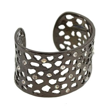 Intricate Cut Out with Crystals Cuff - Black Hematite