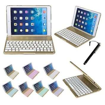 Wireless Bluetooth Keyboard With Tablet Case Cover For iPad Air 9.7inch Thin Aluminum F8 Aluminium Colorful Backlit Light