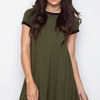 Spirited Shirt Dress - Olive