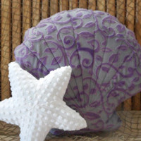 Scallop shell pillow, grey and purple minky vine embossed pillow, nautical decor,sealife,beach decor, beach house pillow, shell pillows, - Edit Listing - Etsy