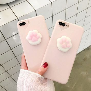 Cute 3D Cartoon Cat Claw Phone Cases For iPhone 7 6 6s Plus Fundas Funny Squishy Toys Pressure Release Case Candy Soft TPU Cover