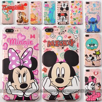 Coque for Samsung Galaxy S6 S7 Edge Case Transparent TPU Cover Mickey Minnie Mouse Caso Fundas Capa for iPhone 8 5 5S 6S 6 Plus