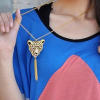 Gold Tone Rhinestone Leopard Head Tassels Pendant Necklace New Arrival