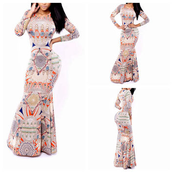 Multicolor Geometric Print Long Sleeve Mermaid Maxi Dress