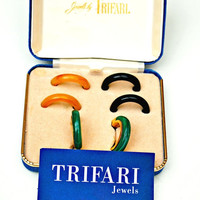 Crown Trifari Interchangeable Fall Colors  Hoops pierced Earrings