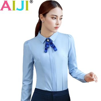 work blouse women OL elegant solid bow tie turn-down collar formal chiffon shirts ladies plus size long sleeve office wear tops