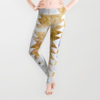 Burnt Gold Tribal Leggings by Caleb Troy