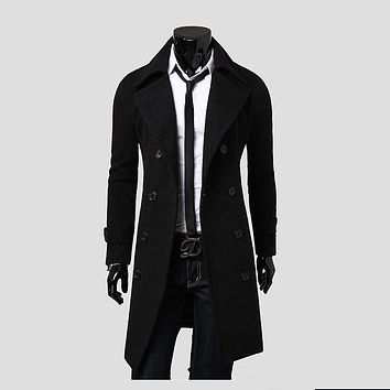 Men's Long Woolen Jacket Solid Double Breasted  Men Trench Coat  Color Black Camel Gray