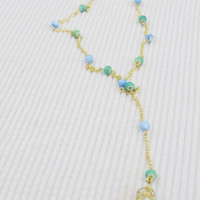 Gold Chain Rosary Style Lariat Necklace with Blue and Green Glass Beads and a Wire Wrapped Crystal Pendant