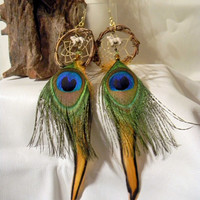 Autumn Wolf / Midnight Calling Dream Catcher Earrings   (ea161)