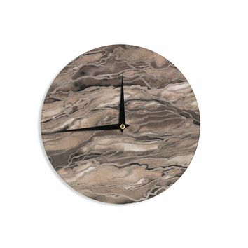 "Ebi Emporium ""Marble Idea, Rustic Elements"" Brown Beige Watercolor Wall Clock"